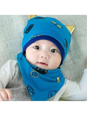 Lava Baby Beret and scarf-blue team