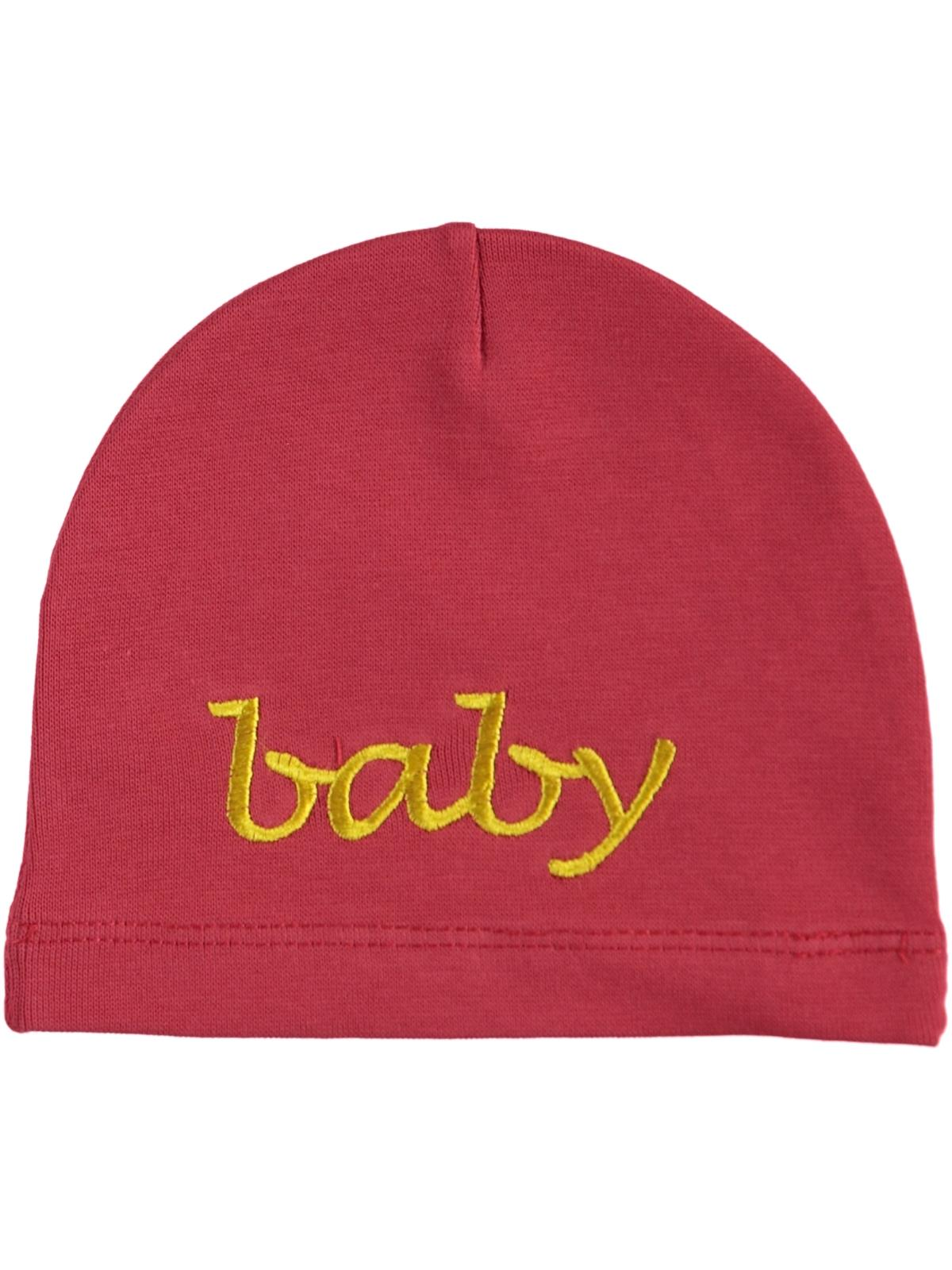 Albimama Red Embroidered Baby Beanie Baby Age 0-2