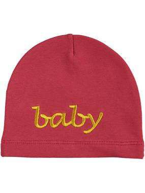 Albimama Red Embroidered Baby Beanie Baby Age 0-2 (1)