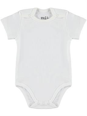 Kujju Ecru Baby 0-1 Month Bodysuit With Snaps