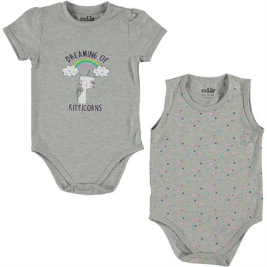 Kujju Baby girl 2-6-24 months gray Bodysuit with snaps