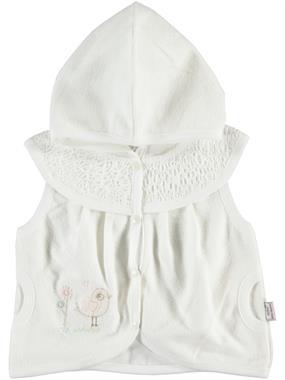 Minidamla 3-12 Months Baby Girl Hooded Vest Ecru
