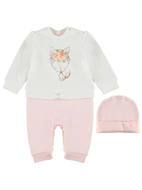 T.F.Taffy Salmon Jumpsuit 0-9 Months Baby Girl Beanie
