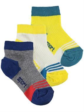 Civil Boys Erkek Çocuk 3'lü Çorap Set 3-13 Yaş Sarı