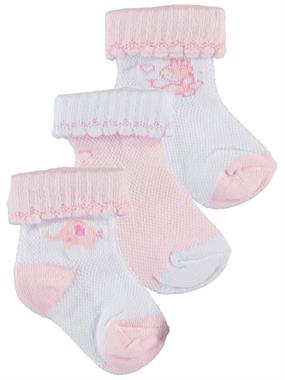 Artı Baby girl 3-Sock Set 0-18 Months Pink