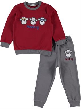 Cvl A Pajama Outfit Boy Burgundy 2-5 Years