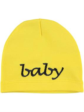 Albimama Yellow 0-24 Months Baby Combed Cotton Embroidered Beret