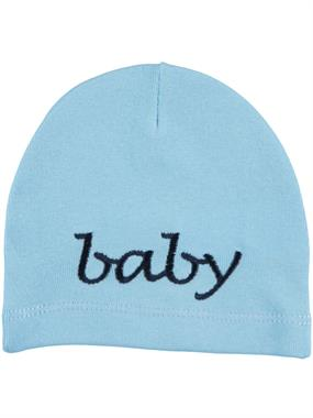 Albimama 0-24 Months Baby Blue Combed Cotton Embroidered Beret