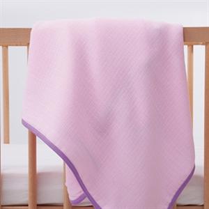 Mycey Pink muslin Blanket, 90x90 cm