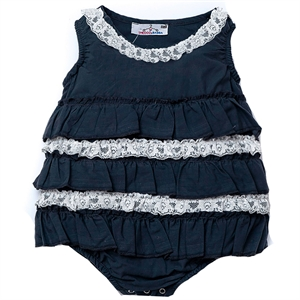 Shecco Babba Anthracite Mini Dress Baby Girl Lace Badil