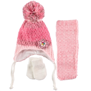 Civil Gloves Hat Scarf Set 0-18 Months Baby Girls Ecru