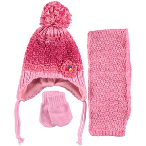 Civil Pink Baby Girls Hat Gloves Scarf Set 0-18 Months