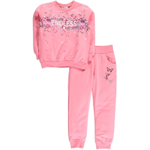 Cvl Pinkish Orange Sweat Suit Boy Girl Age 6-9