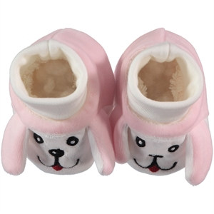 Minidamla Baby Booties 0-9 Months Pink Velvet Dog Albim