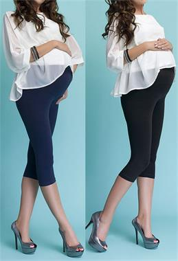 Luvmabelly 55750 - pack Capri tights in black and navy blue dual lullabelly pregnant