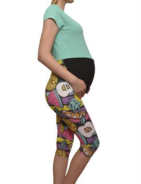 Luvmabelly 8020 lullabelly Maternity - Cotton Belly-Backed Fruit-patterned Tights Capri Pregnant