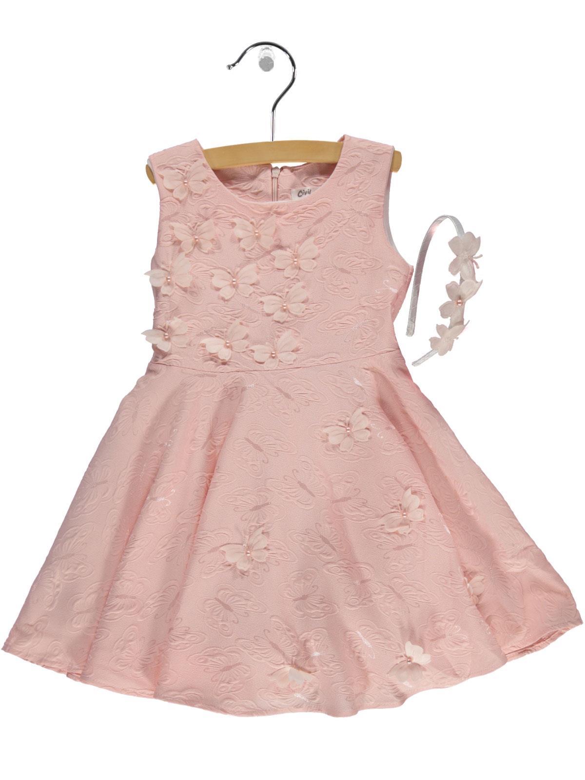 b448d7fd6cc4c 2358 / SMN Civil Girls Kız Çocuk Elbise 6-9 Yaş Somon