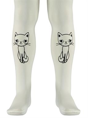 Bella Calze Ecru Pantyhose Cat Printed Girl Boy 2-11 Years