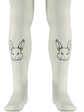 Bella Calze Ecru Girl Printed Pantyhose Rabbit 2-11 Years