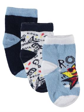 Katamino Boy 3-Set of socks 0-12 months navy blue