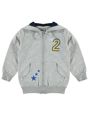 Civil Boys Boy Combed Cotton Gray Hooded Cardigan 2-5 Years