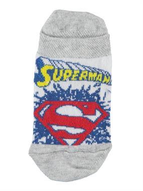 Superman Erkek Çocuk Patik Çorap 3-9 Yaş Gri