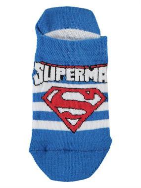 Superman Erkek Çocuk Patik Çorap 3-9 Yaş Saks Mavisi