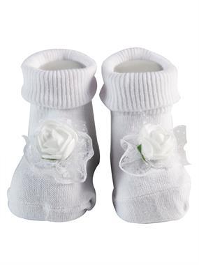 Minidamla 0-3 Months Baby Girl White Ankle Socks Rose