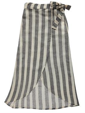 Civil Girls Striped Skirt Black Tie Belt A Linen Girl Boy Age 10-13