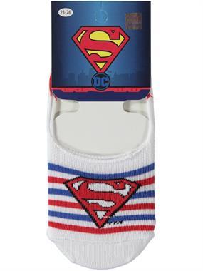 Superman Erkek Çocuk Babet Çorap 5-9 Yaş Beyaz