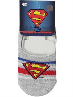 Superman Erkek Çocuk Babet Çorap 5-9 Yaş Gri