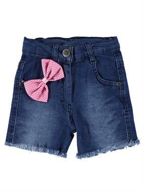 Civil Girls Girl With Bow Blue Denim Shorts 2-5 Years