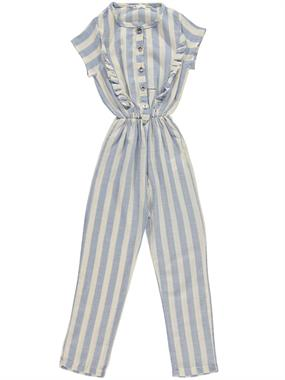 Civil Girls Blue Striped Overalls Boy Girl Age 10-13