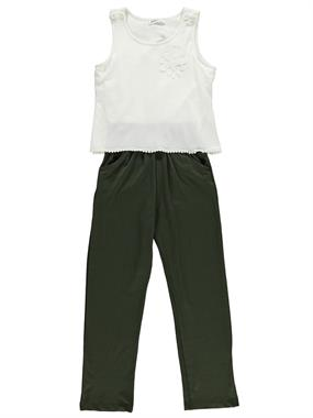 Civil Girls Rose Crepe Collar Khaki Overalls Girl Child Age 10-13