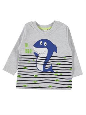 Civil Baby Baby Boy Shark T-Shirt Printed Gray 6-18 Months