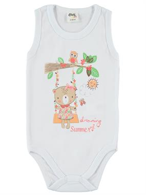 Civil Baby 0-18 Months Baby Girl White Bodysuit With Snaps