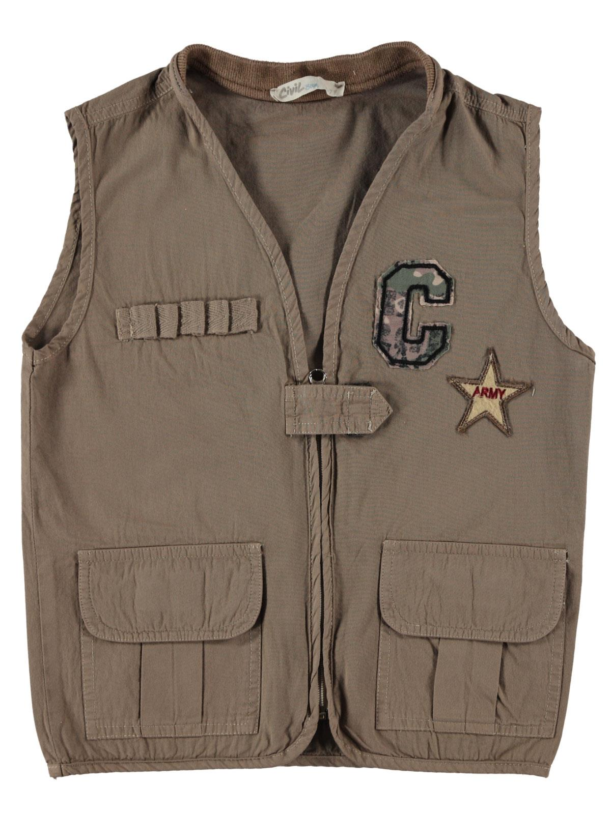 Civil Boys Embroidered Star Vest Beige Boy Age 6-9