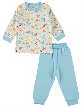 Civil Baby Erkek Bebek Pijama Takımı 0-9 Ay Turkuaz