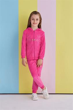 RolyPoly Fuchsia Velour Tracksuits Hoodie Girls Cat Face Team