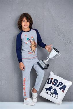 U.S. Polo Assn US Polo Assn Grey Melange Pajama Boy Outfit Licensed