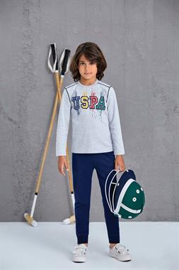 U.S. Polo Assn US Polo Assn Gray Pajama Boy Outfit Licensed