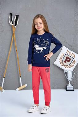 U.S. Polo Assn Girl In A Pajama Outfit US Polo Assn Navy Blue Licensed