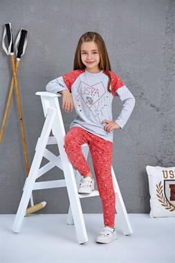 U.S. Polo Assn Girl In A Pajama Outfit US Polo Assn Gray Licensed