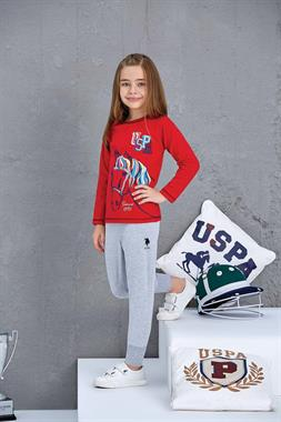 U.S. Polo Assn US Polo Assn Girl's Licensed Sleepwear-Team Red