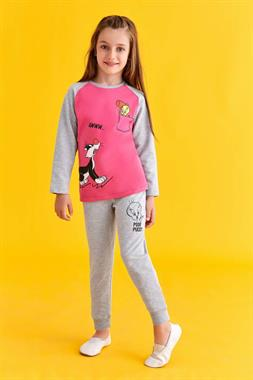 Tweety Licensed Sylvester Sweat Suit Fuchsia Girl