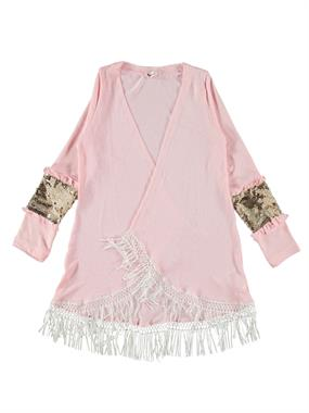 Civil Girls The Fringed Skirt Pink Sequin Cardigan Age 10-13 Arm