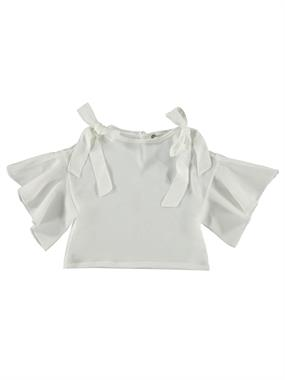 Civil Girls Ecru Shirt Bowtie On The Shoulder Of The Girl Child 2-5 Years