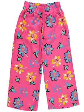 Civil Girls Age 6-9 Girl Child Trotting Capri Fuchsia Viscose Plenty Of Large Flowers