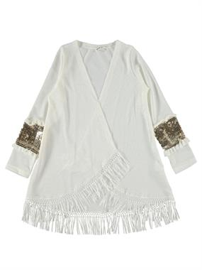 Civil Girls Fringed Skirt Ecru Sequin Cardigan Age 10-13 Arm