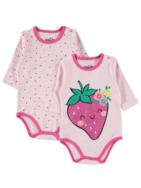 Kujju Fuchsia Floral Printed Bodysuit With Snaps Chichewa Baby Girl 3-9 Months